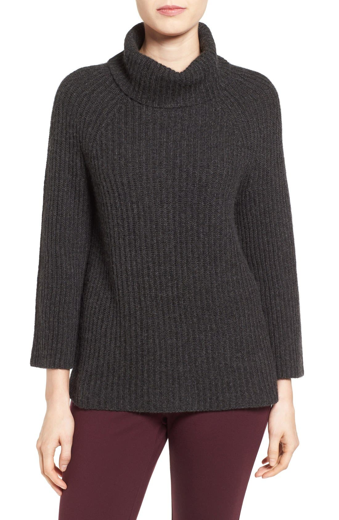,                             Ribbed Cashmere Turtleneck Sweater,                             Main thumbnail 1, color,                             021