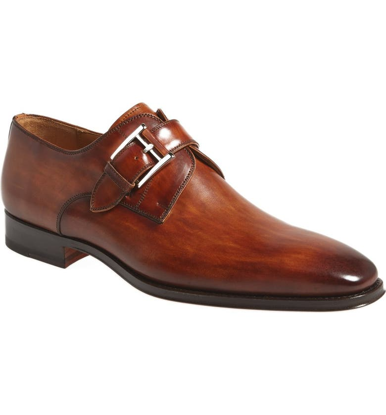 MAGNANNI Marco Plain Toe Monk Shoe, Main, color, CUERO BROWN LEATHER