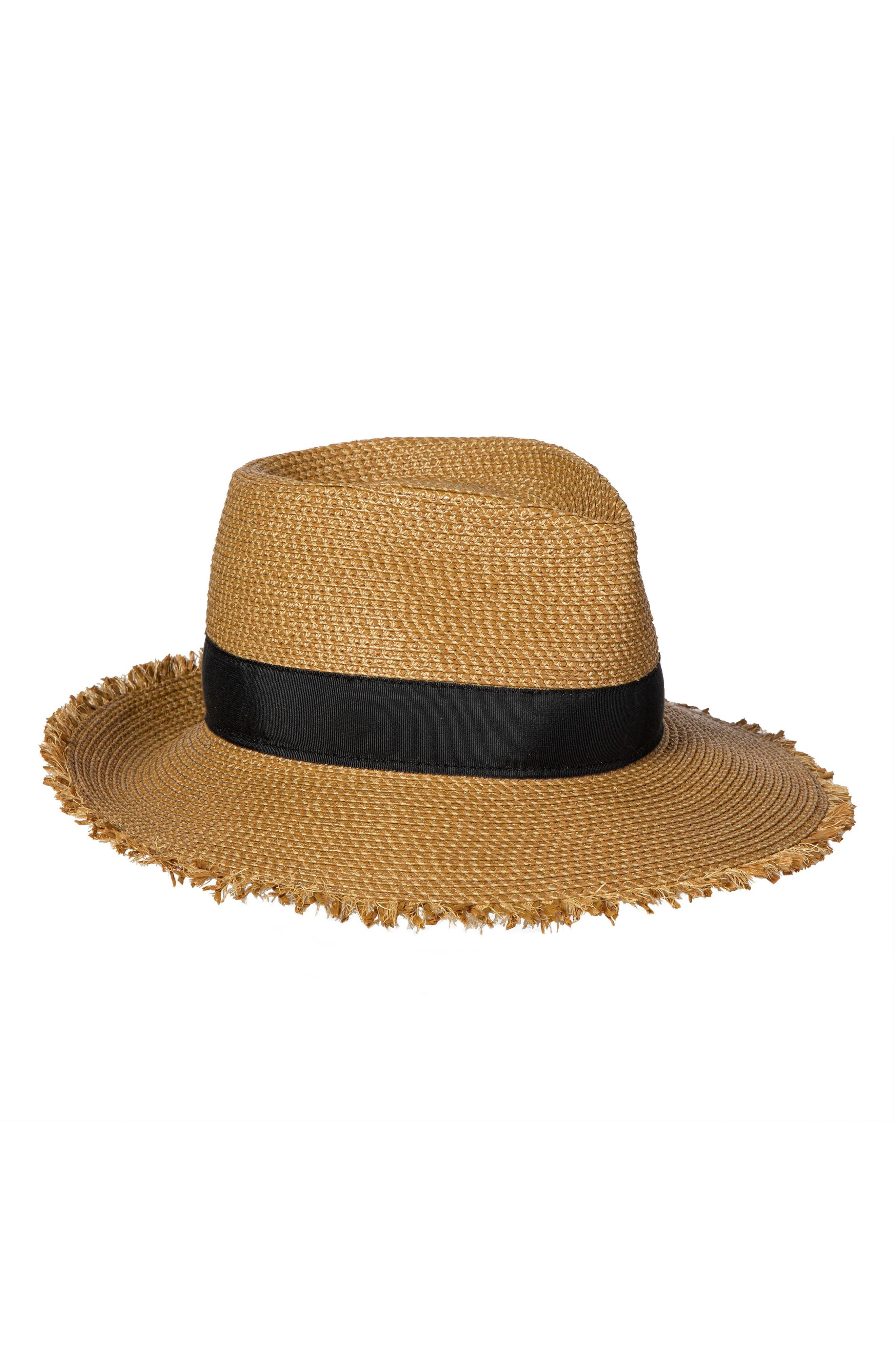 Fringe Pinch Squishee Packable Fedora Sun Hat