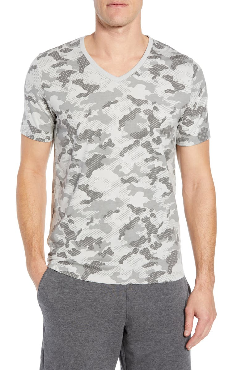 TOMMY JOHN Second Skin Micromodal Deep V-Neck Undershirt, Main, color, GREY CAMO
