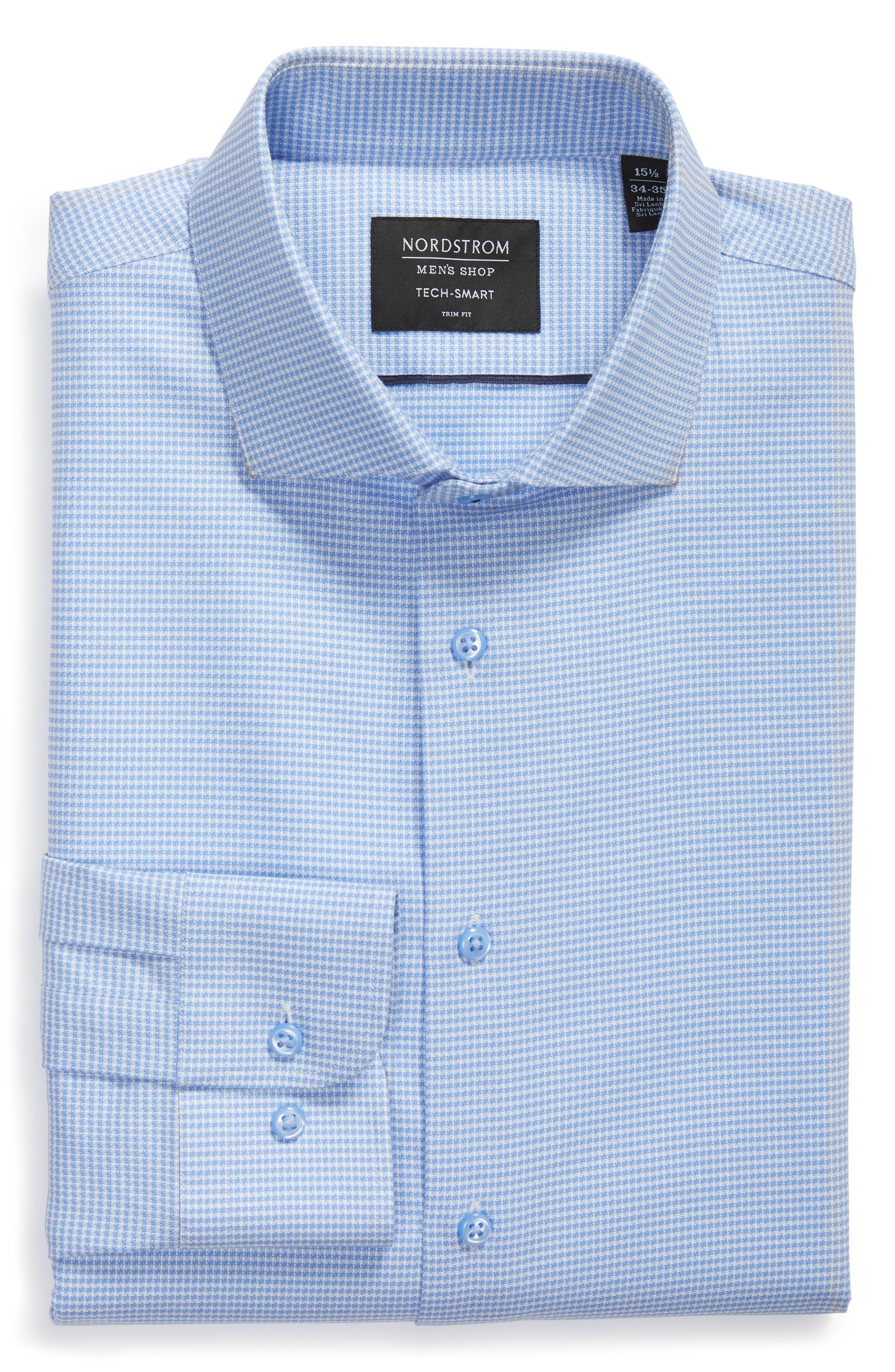 ,                             Tech-Smart Trim Fit Stretch Texture Dress Shirt,                             Alternate thumbnail 5, color,                             BLUE HYDRANGEA