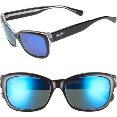 Maui Jim Plumeria 55Mm Polarized Cat Eye Sunglasses - Black W Crystal/ Blue Hawaii
