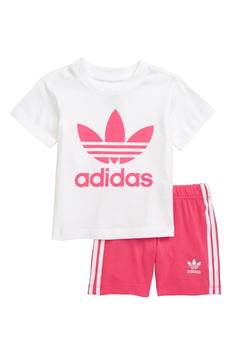 ADIDAS ORIGINALS Logo T-Shirt & Shorts Set, Main, color, WHITE REAL PINK