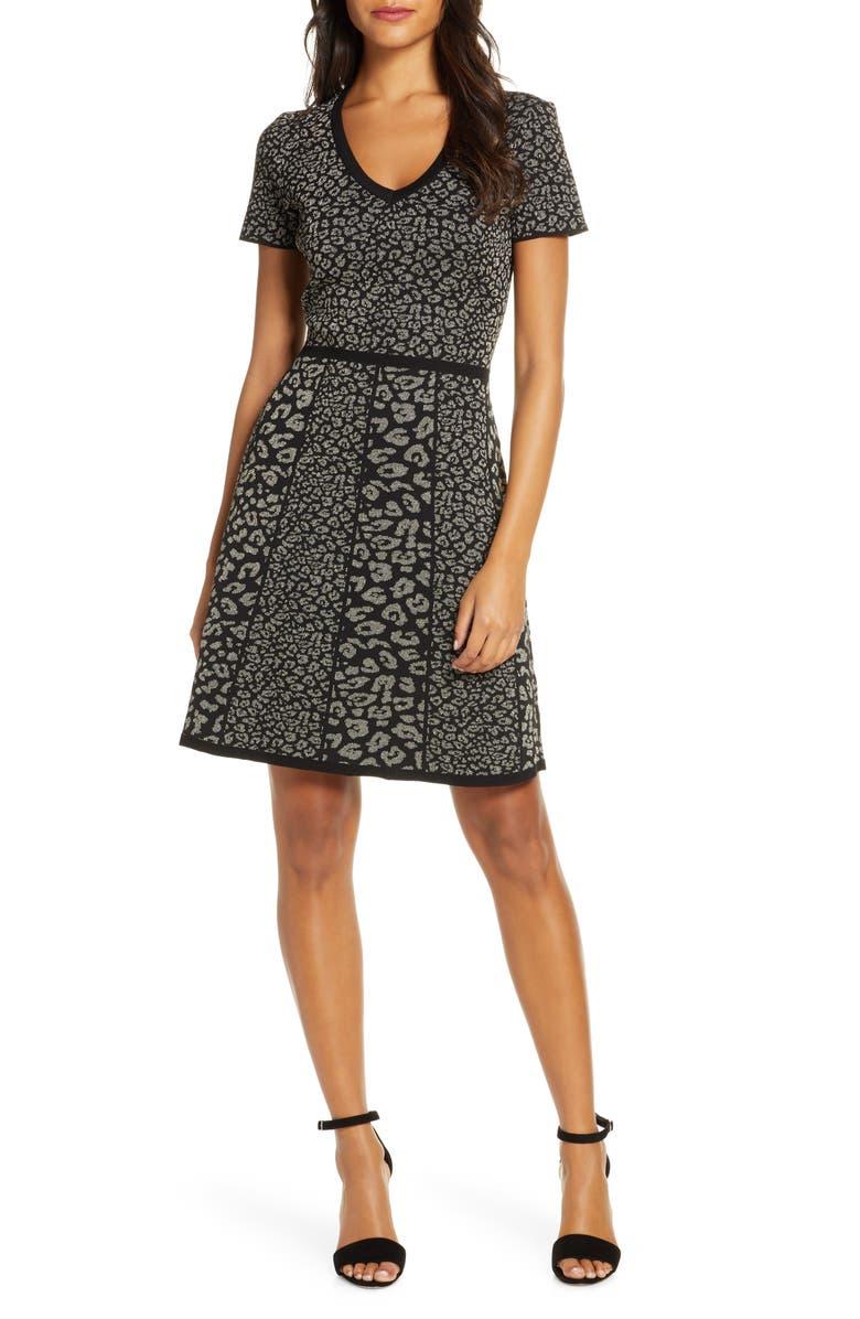 DONNA RICCO Leopard Jacquard Sweater Dress, Main, color, BLACK/ GOLD