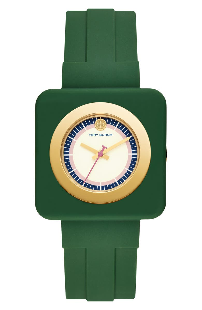 TORY BURCH Izzie Square Silicone Strap Watch, 36mm, Main, color, 300
