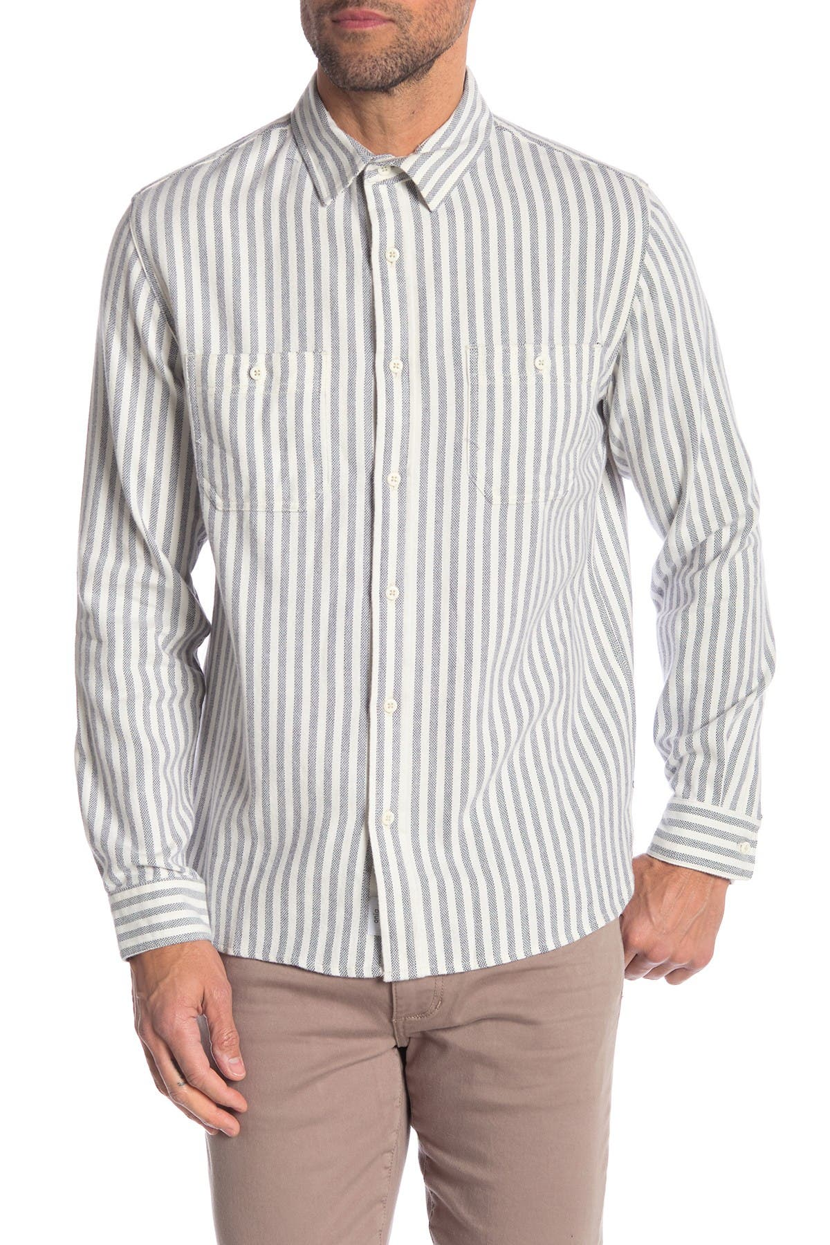 Image of Onia Liam Striped Relaxed Fit Shirt
