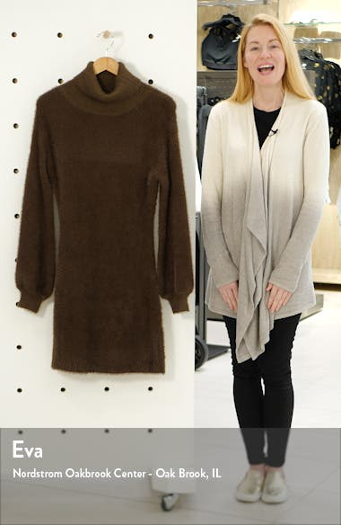 Caley Eyelash Chenille Turtleneck Sweater Dress, sales video thumbnail