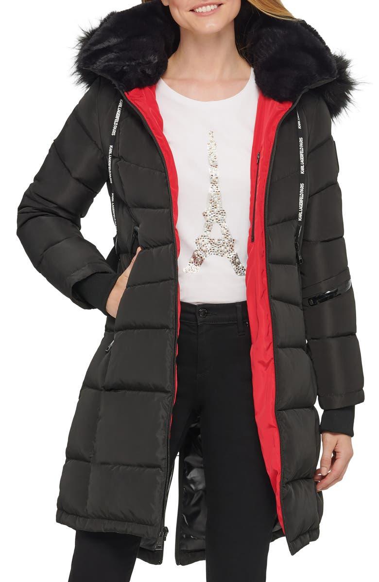 KARL LAGERFELD PARIS Aprés Ski Long Parka with Faux Fur Trim, Main, color, BLACK