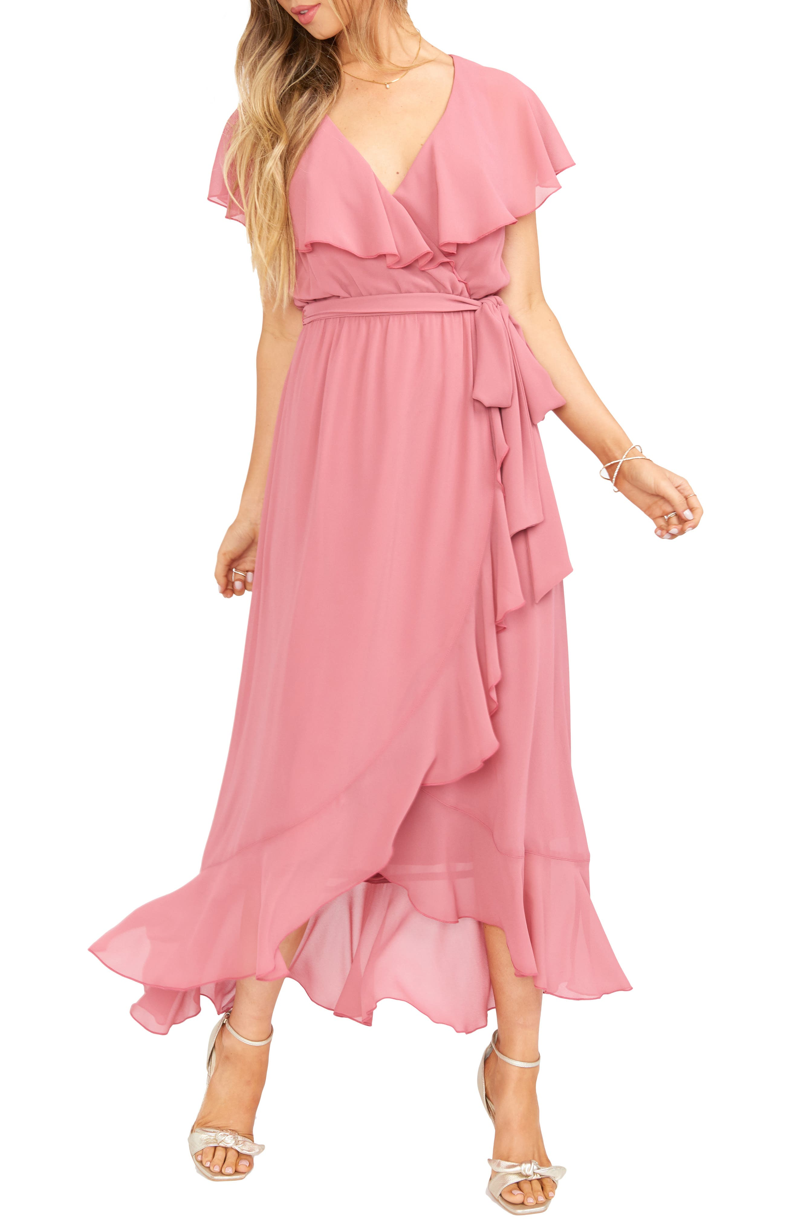 70s Prom, Formal, Evening, Party Dresses Womens Show Me Your Mumu Jess Ruffle Maxi Dress Size XX-Small - Pink $118.80 AT vintagedancer.com
