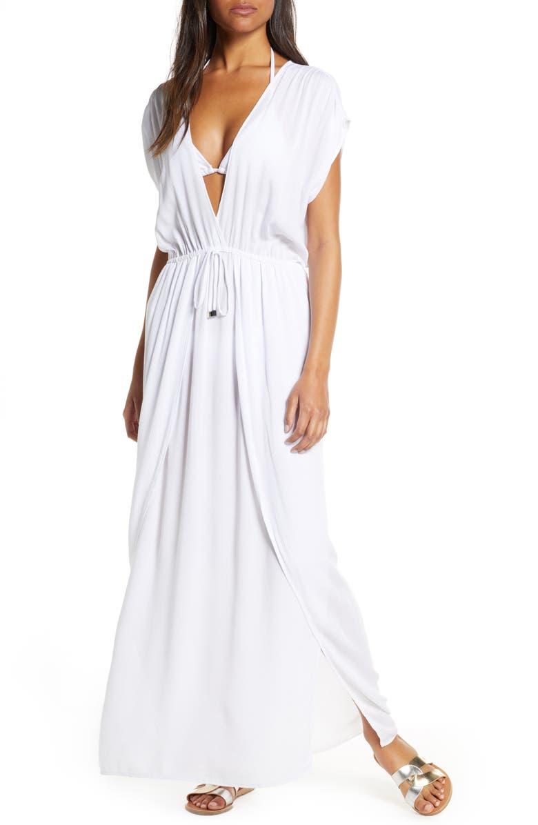 ELAN Wrap Maxi Cover-Up Dress, Main, color, WHITE