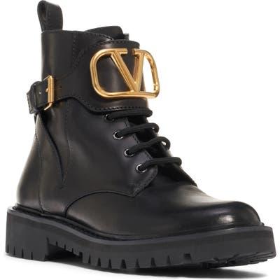 Valentino Garavani V-Logo Buckle Combat Boot, Black