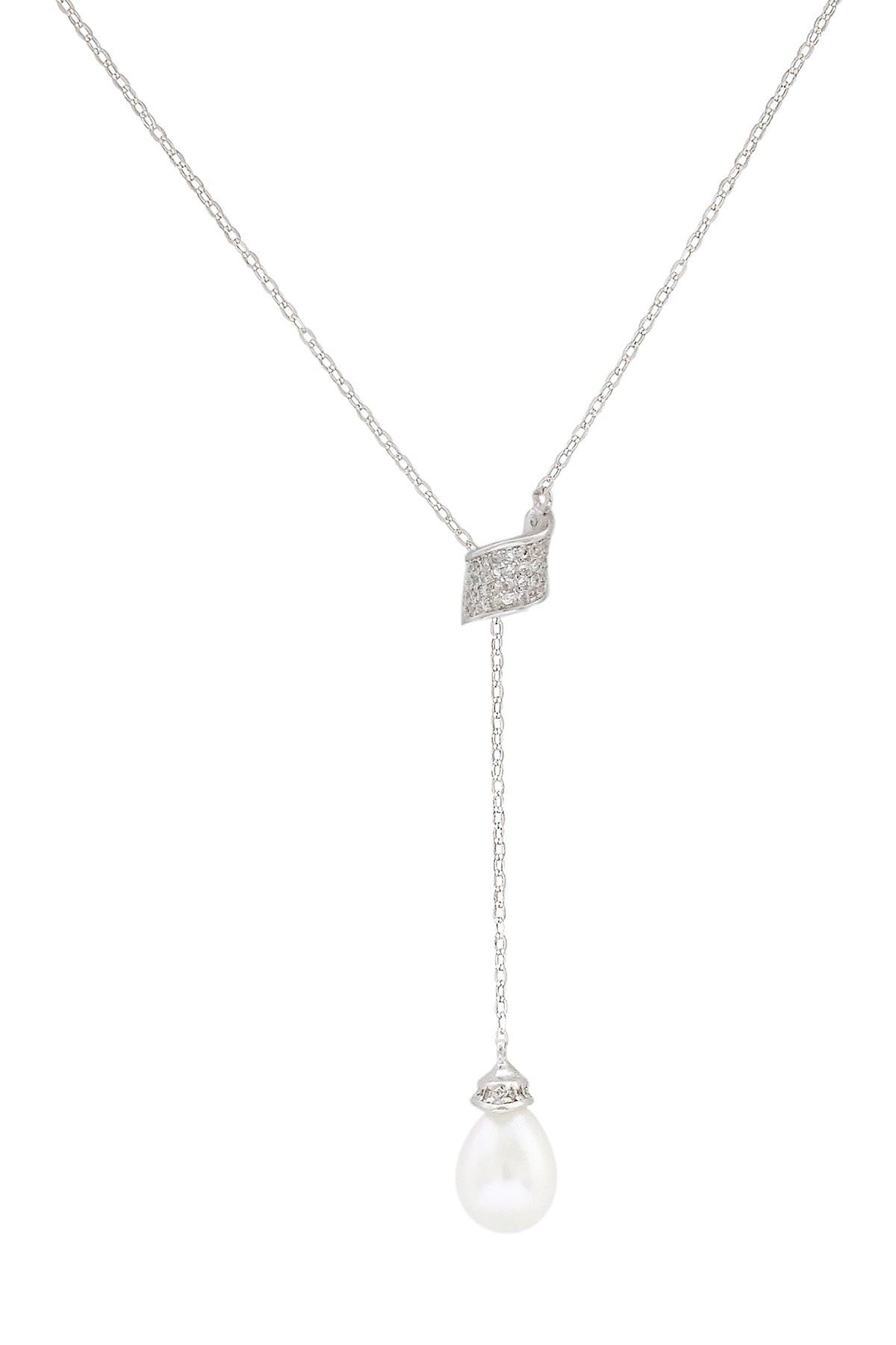 Image of Savvy Cie Sterling Silver Freshwater Pearl Lariat Necklace