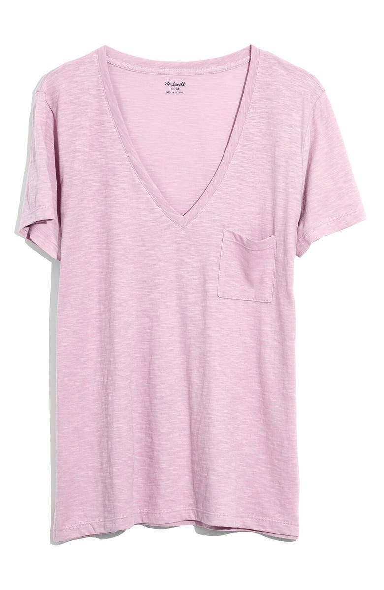 MADEWELL Whisper Cotton V-Neck Pocket Tee, Main, color, PROVENCE GRAPE
