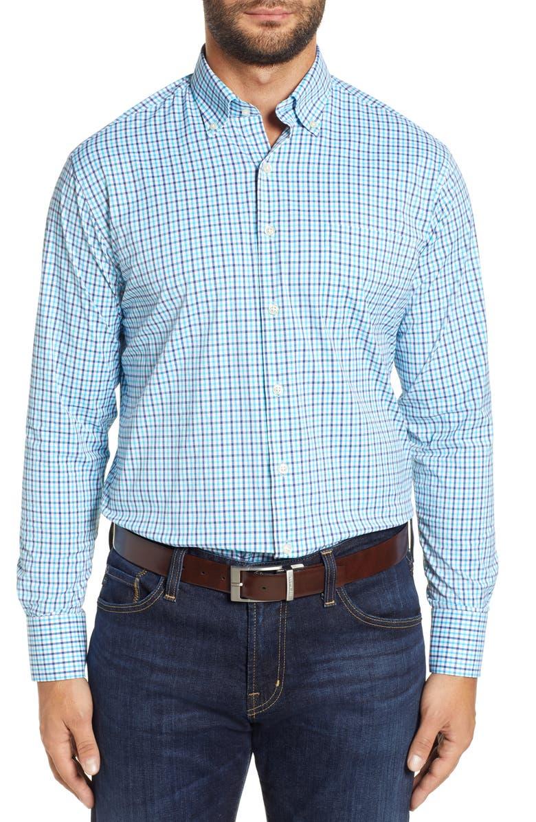 PETER MILLAR Iberian Regular Fit Plaid Sport Shirt, Main, color, 400