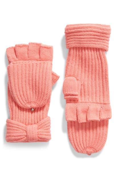 Kate Spade Solid Bow Pop Top Gloves In Chilled Apricot