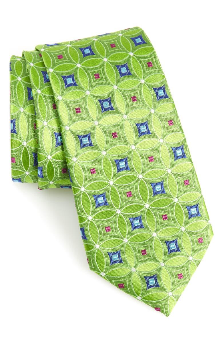 NORDSTROM MEN'S SHOP Laurent Geometric Silk Tie, Main, color, GREEN
