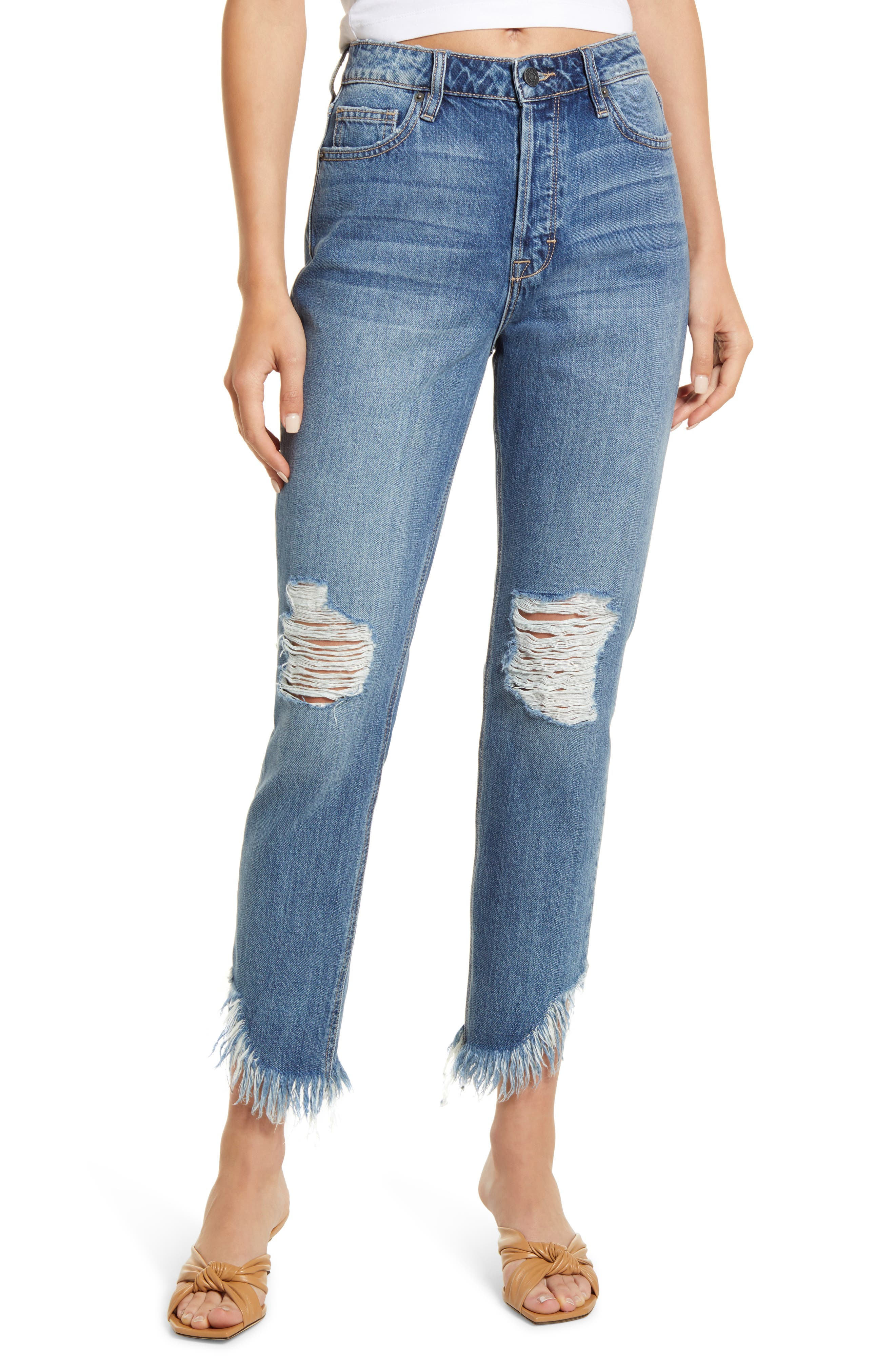 High Waist Fray Hem Ankle Mom Jeans
