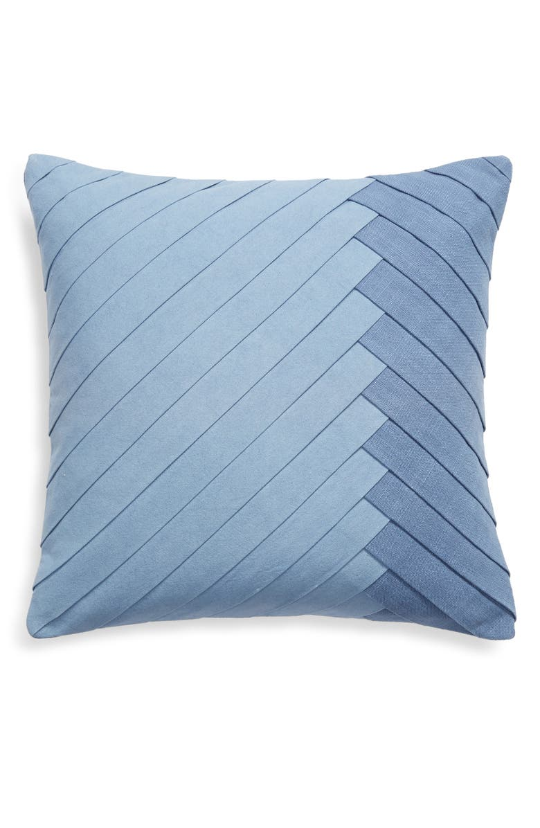 NORDSTROM Pleated Accent Pillow, Main, color, BLUE CHAMBRAY