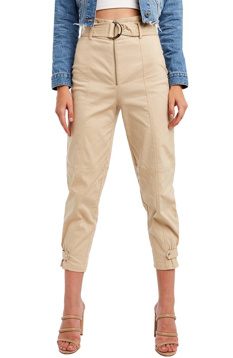 BARDOT Belted Crop Pants, Main, color, PEBBLE