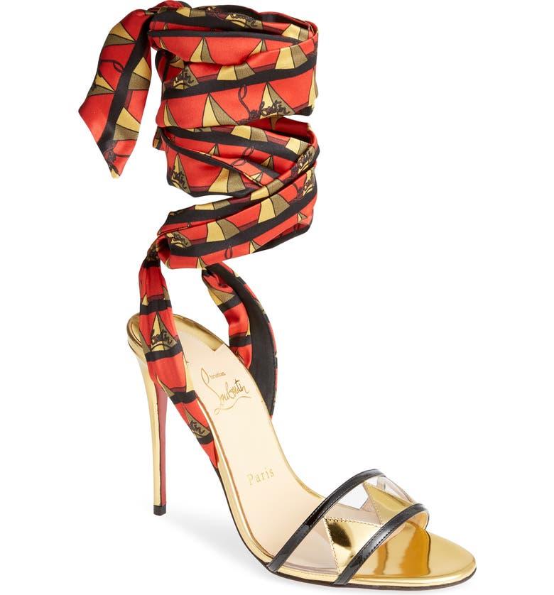 CHRISTIAN LOUBOUTIN Baigneuse Ankle Wrap Sandal, Main, color, LOUBI RED