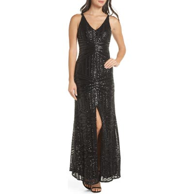 Morgan & Co. V-Neck Sequin Gown