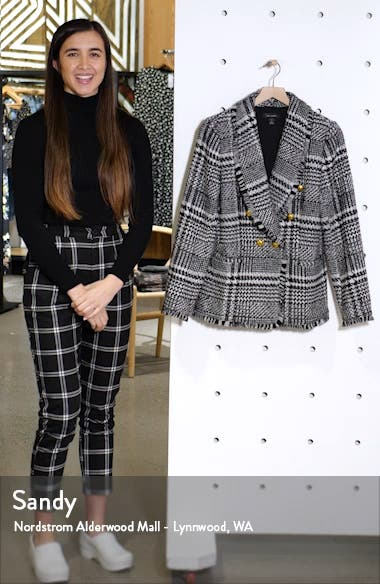 Double Breasted Plaid Tweed Blazer, sales video thumbnail