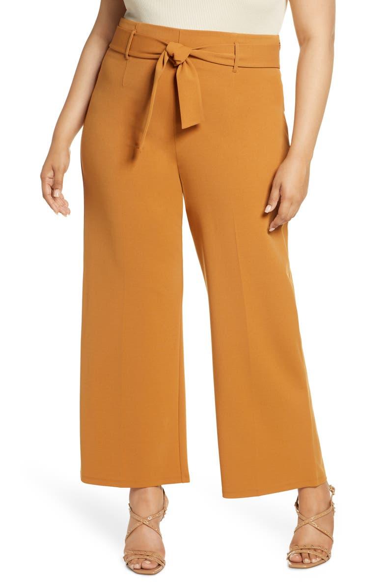 LEITH High Waist Belted Pants, Main, color, TAN SUGAR