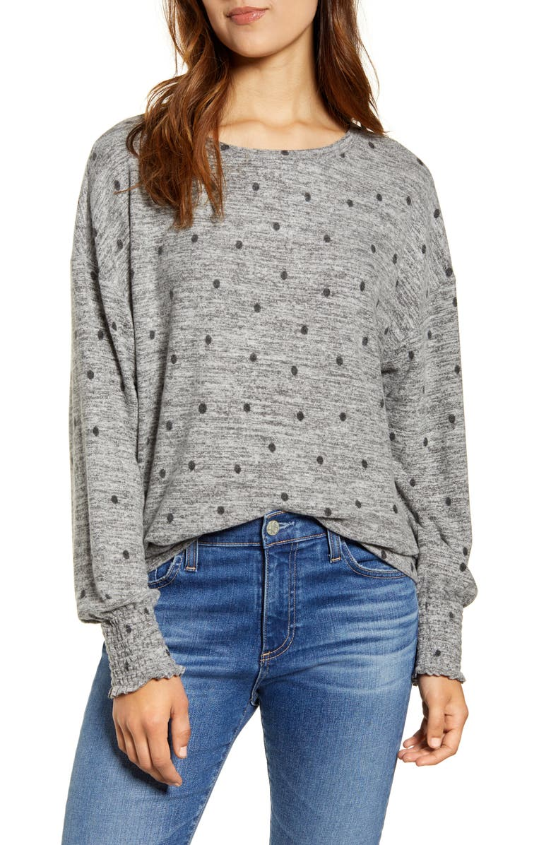 LUCKY BRAND Polka Dot Top, Main, color, BLACK DOT
