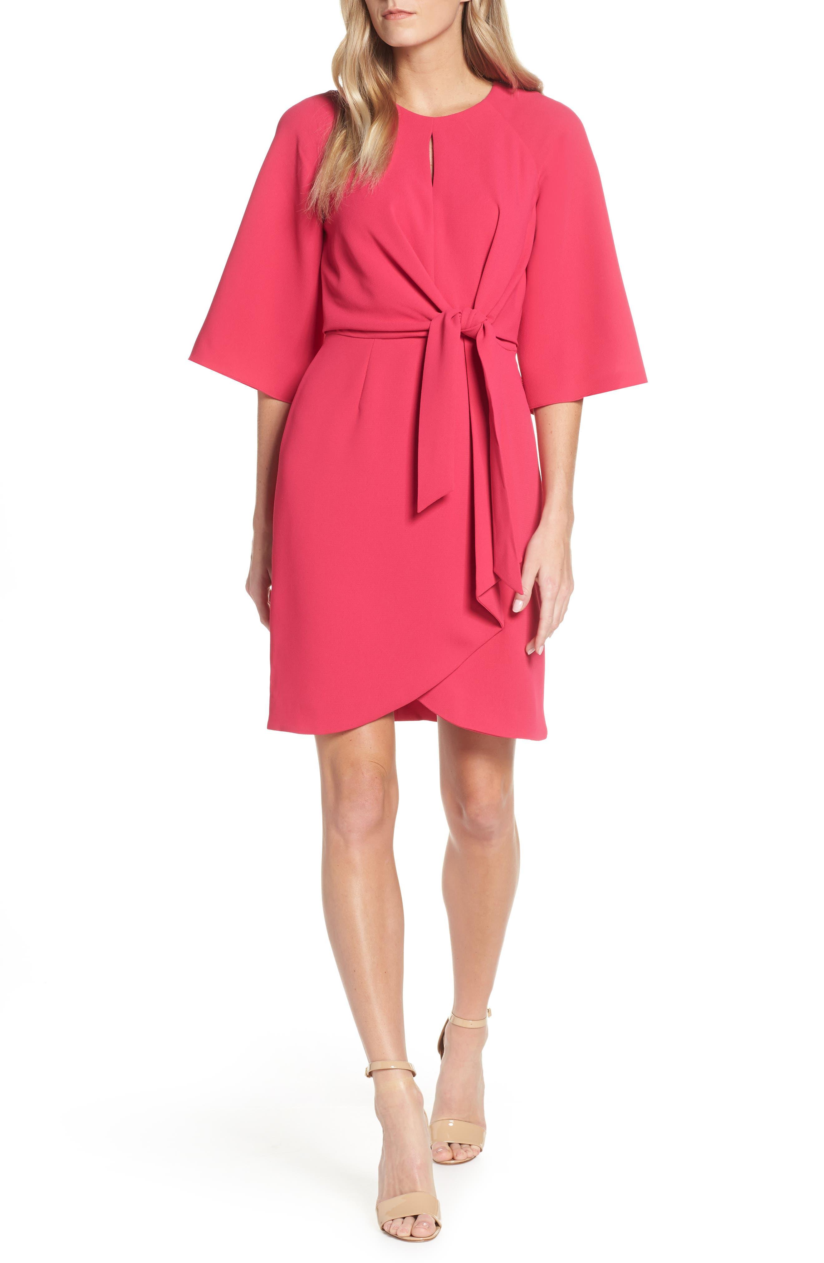Tahari Tie Front Crepe Sheath Dress, Pink