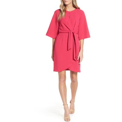 Tahari Tie Front Crepe Sheath Dress, Pink