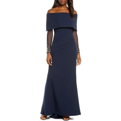 Vince Camuto Off The Shoulder Long Sleeve Gown, Blue