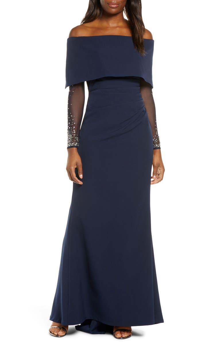 VINCE CAMUTO Off the Shoulder Long Sleeve Gown, Main, color, NAVY