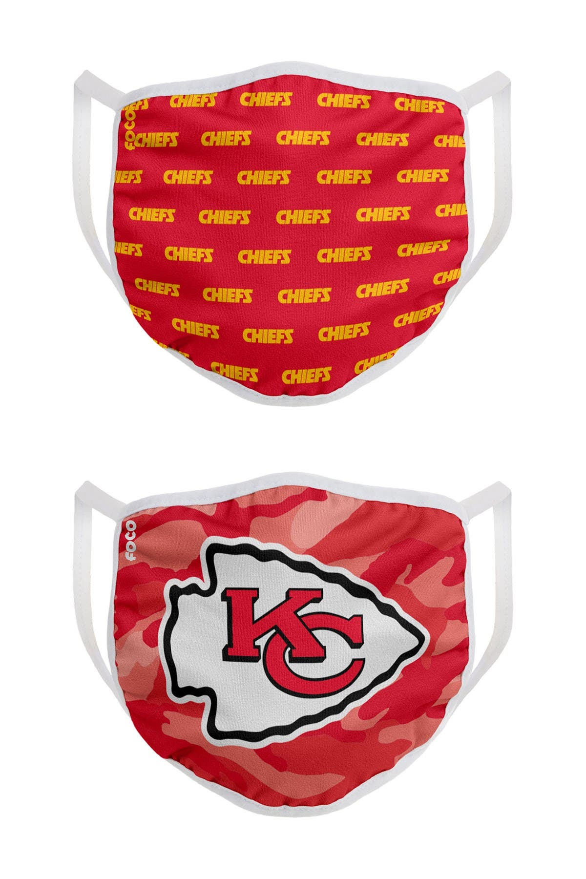 Image of FOCO NFL Kansas City Chiefs Clutch Printed Face Cover - Pack of 2