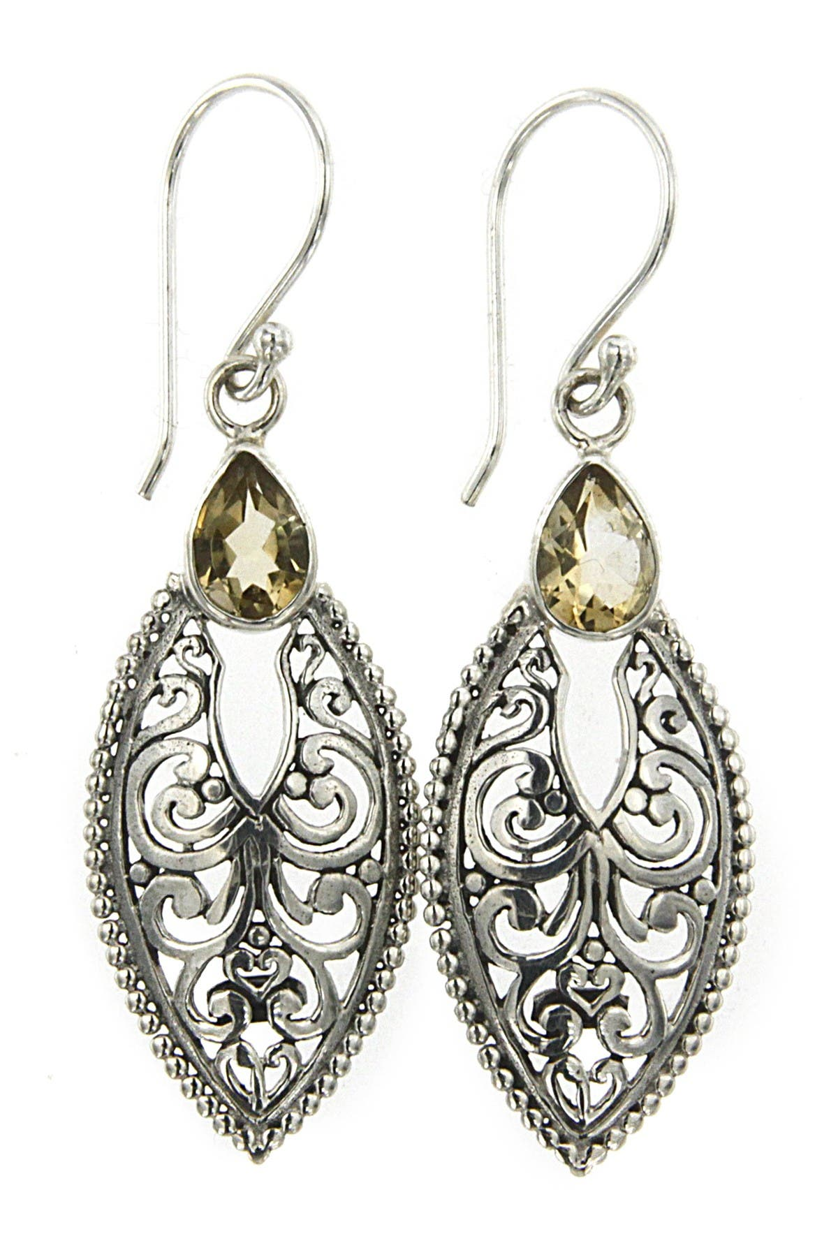 Image of Samuel B Jewelry Sterling Silver Bali Design Marquise Citrine Earrings