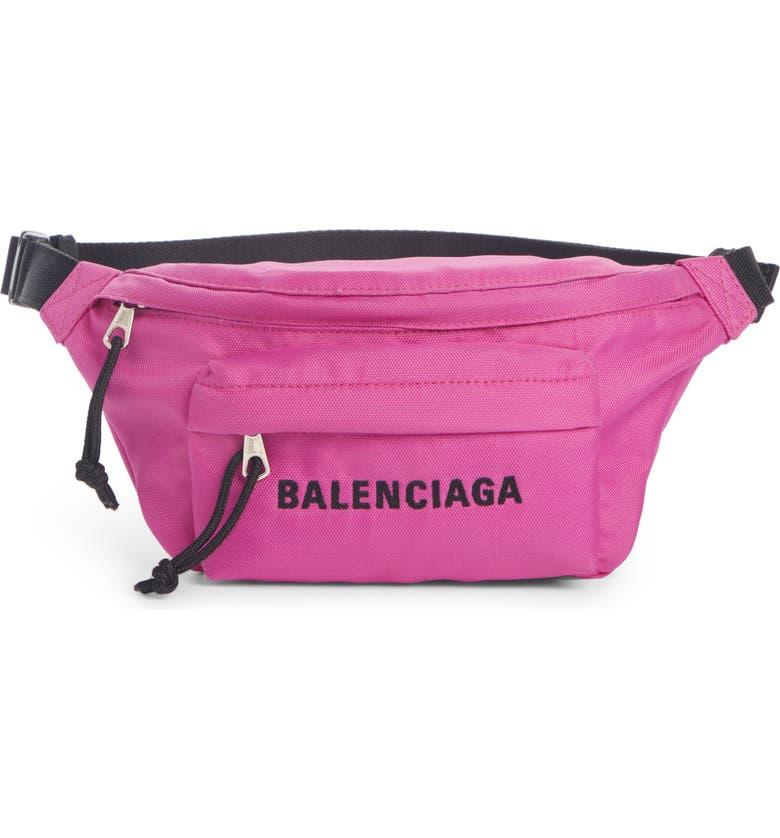 BALENCIAGA Wheel Nylon Belt Bag, Main, color, FUCHSIA/ BLACK