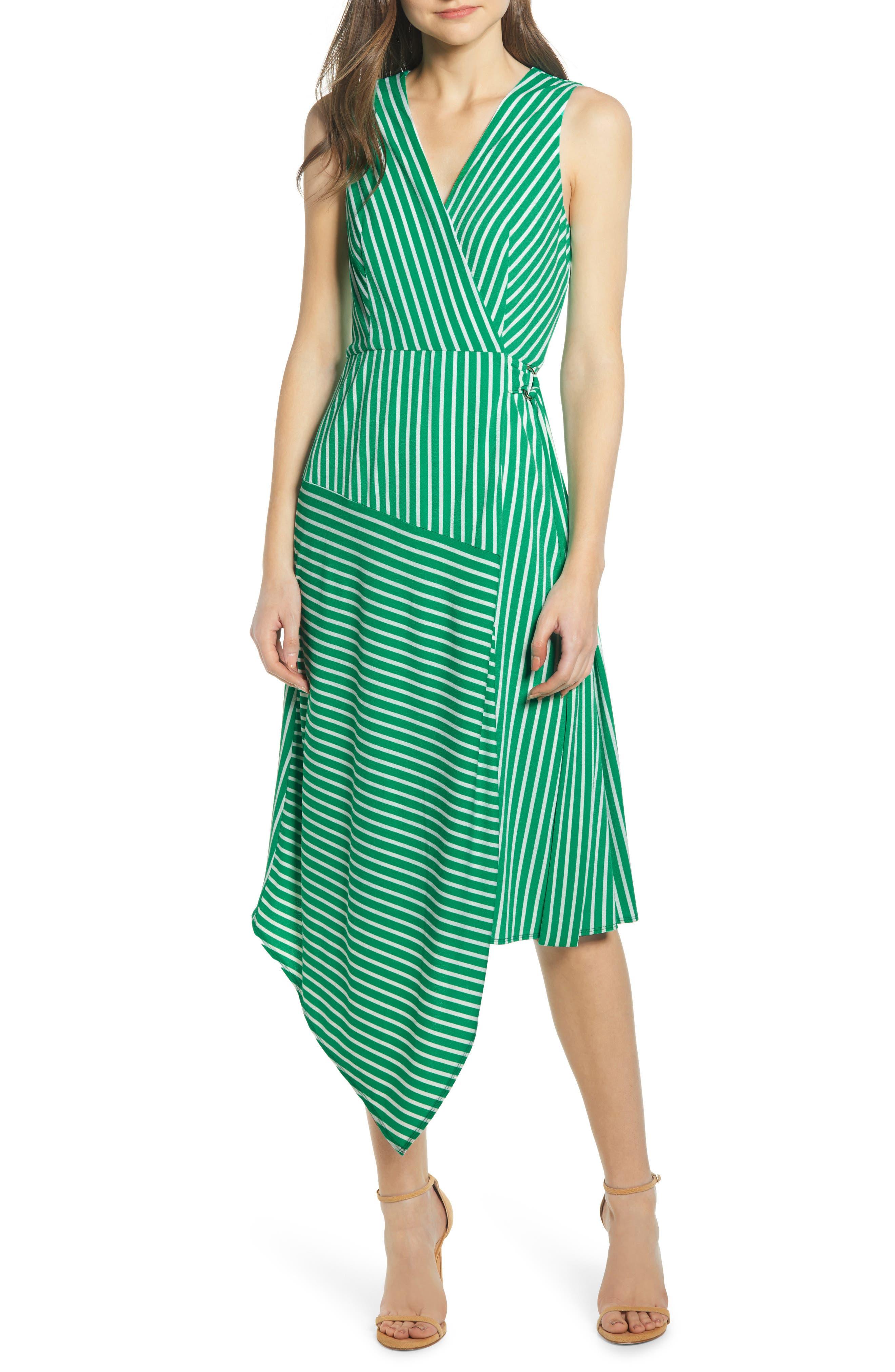 Wrap Midi Dress, Main, color, JADE-WHITE STRIPE