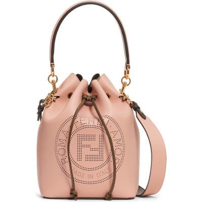 Fendi Mon Tresor Perforated Logo Leather Bucket Bag - Pink