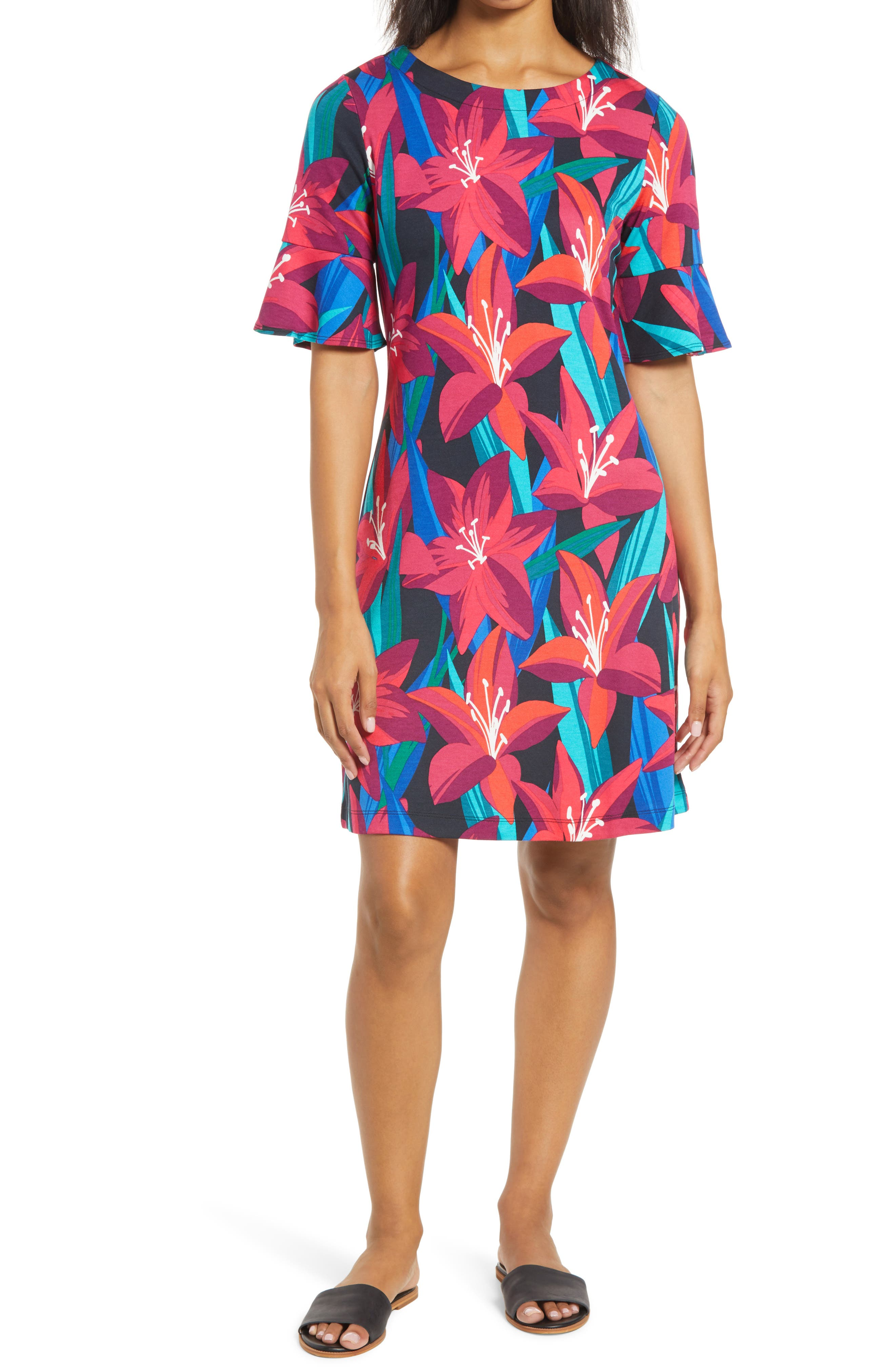 Tommy Bahama Petal Perfect Short Sleeve Dress In Black