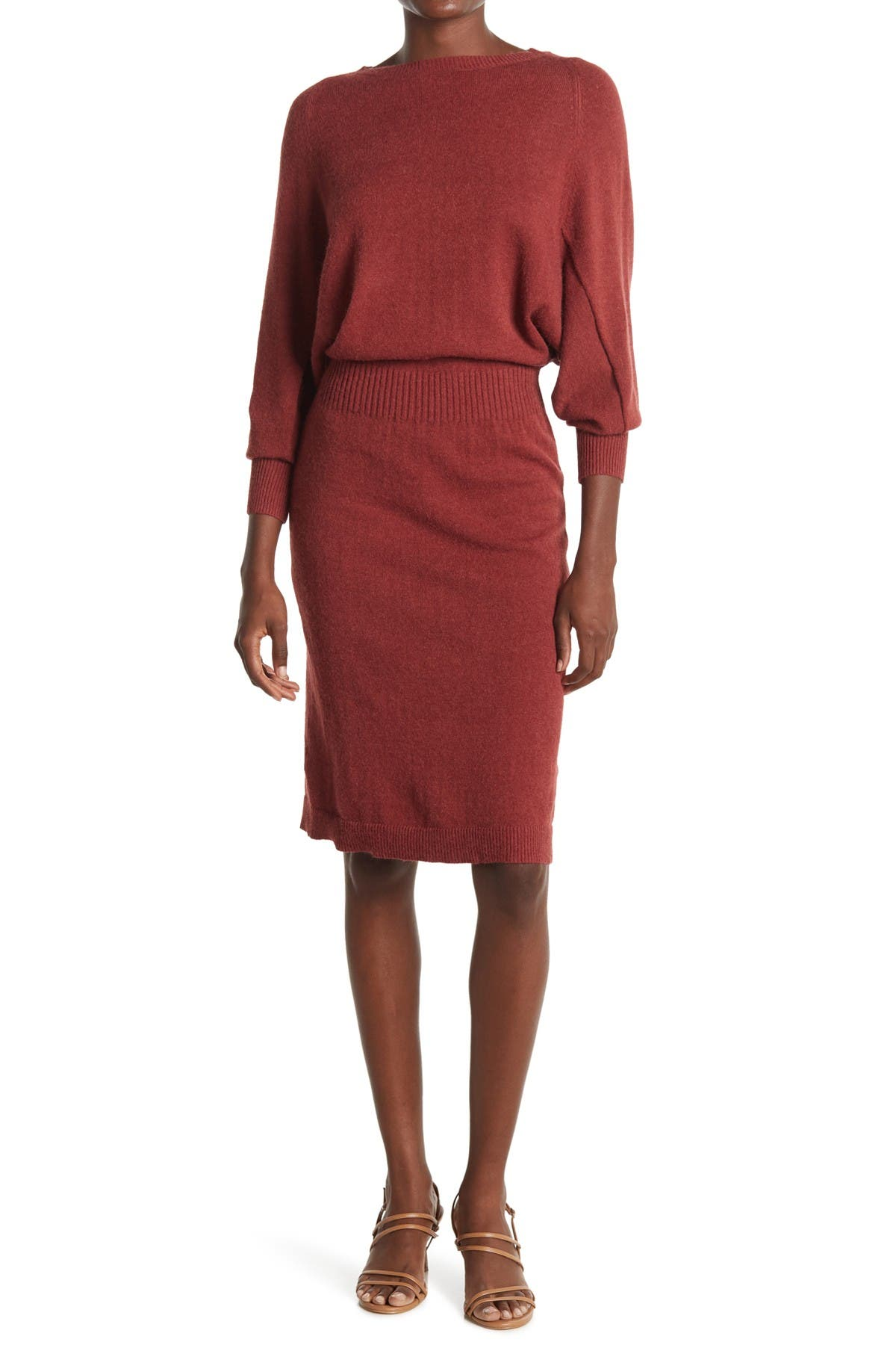 Image of STITCHDROP All in One Blouson Knit Sweater Dress