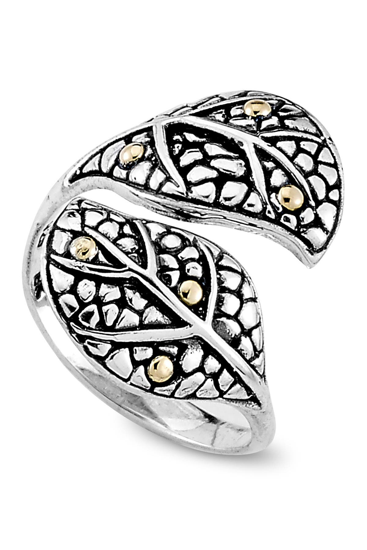 Image of Samuel B Jewelry Sterling Silver & 18K Yellow Gold Leaf Bypass Ring
