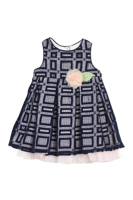 Image of Pippa & Julie Sleeveless Front Tacked-On Bow Pleated Dress