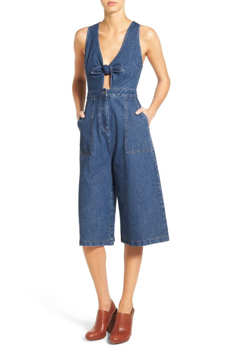 ASTR THE LABEL ASTR 'Laura' Denim Jumpsuit, Main, color, 400