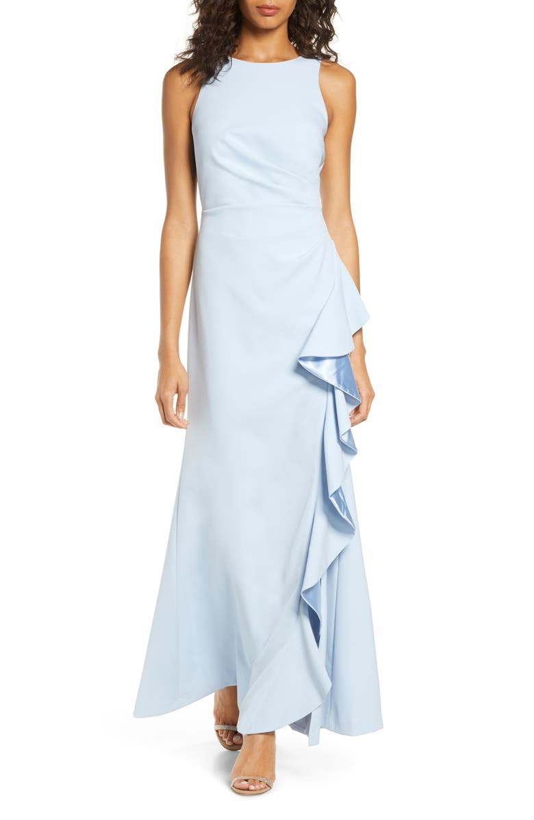 VINCE CAMUTO Ruffle Slit Trumpet Gown, Main, color, 429