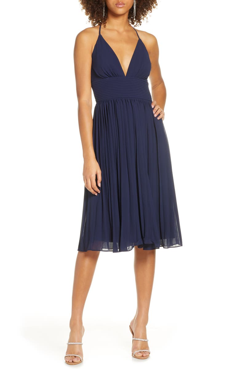 LULUS Love Me to the Moon Pleated Cocktail Dress, Main, color, NAVY