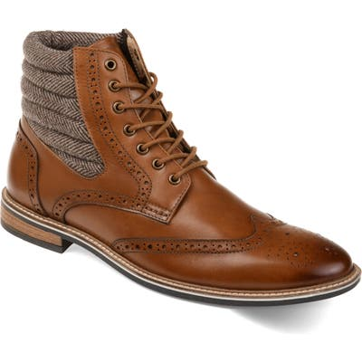 Thomas And Vine Apollo Quilted Wingtip Boot- Brown