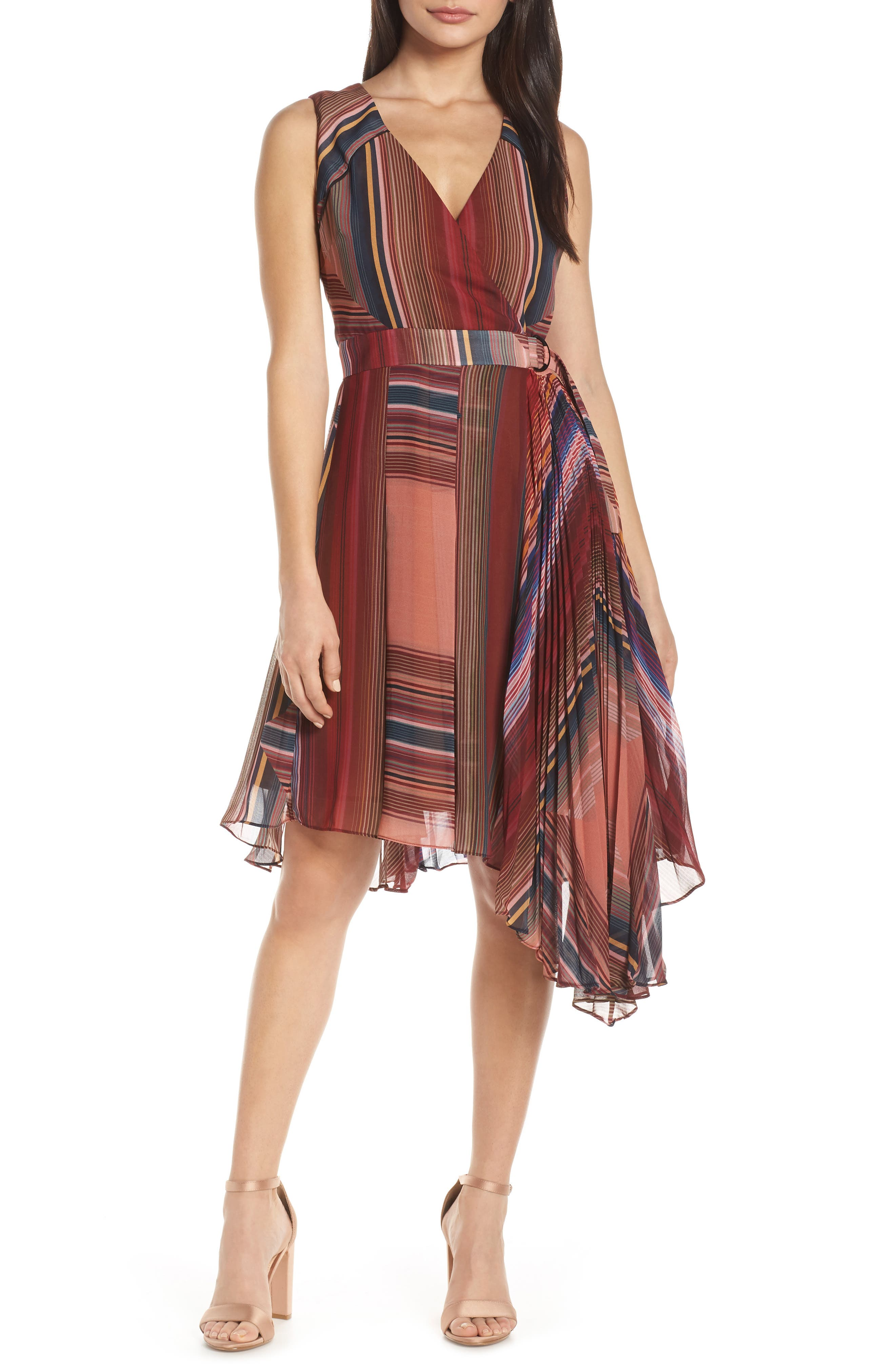 Harlyn Pleated Chiffon Faux Wrap Cocktail Dress, Red