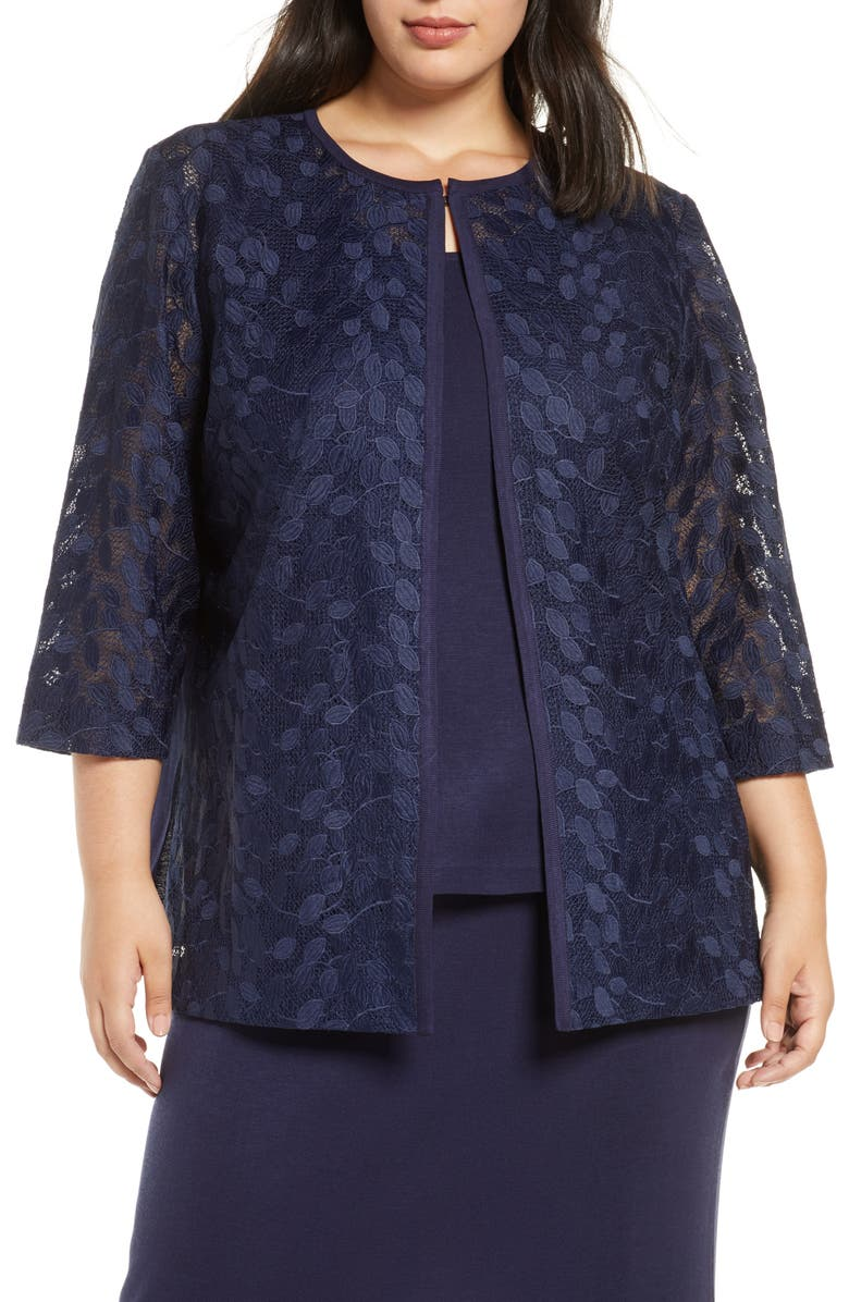 MING WANG Lace & Knit Jacket, Main, color, INDIGO/ WHITE