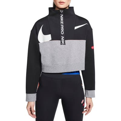Nike Pro Dri-Fit Get Fit Crop Fleece Half Zip Pullover, Black