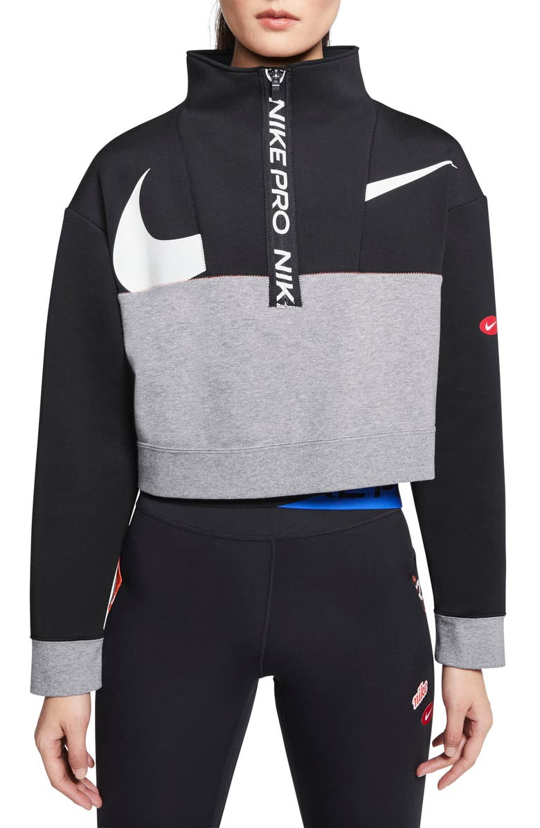 NIKE Pro Dri-FIT Get Fit Crop Fleece Half Zip Pullover, Main, color, BLACK/ CARBON HEATHER/ WHITE