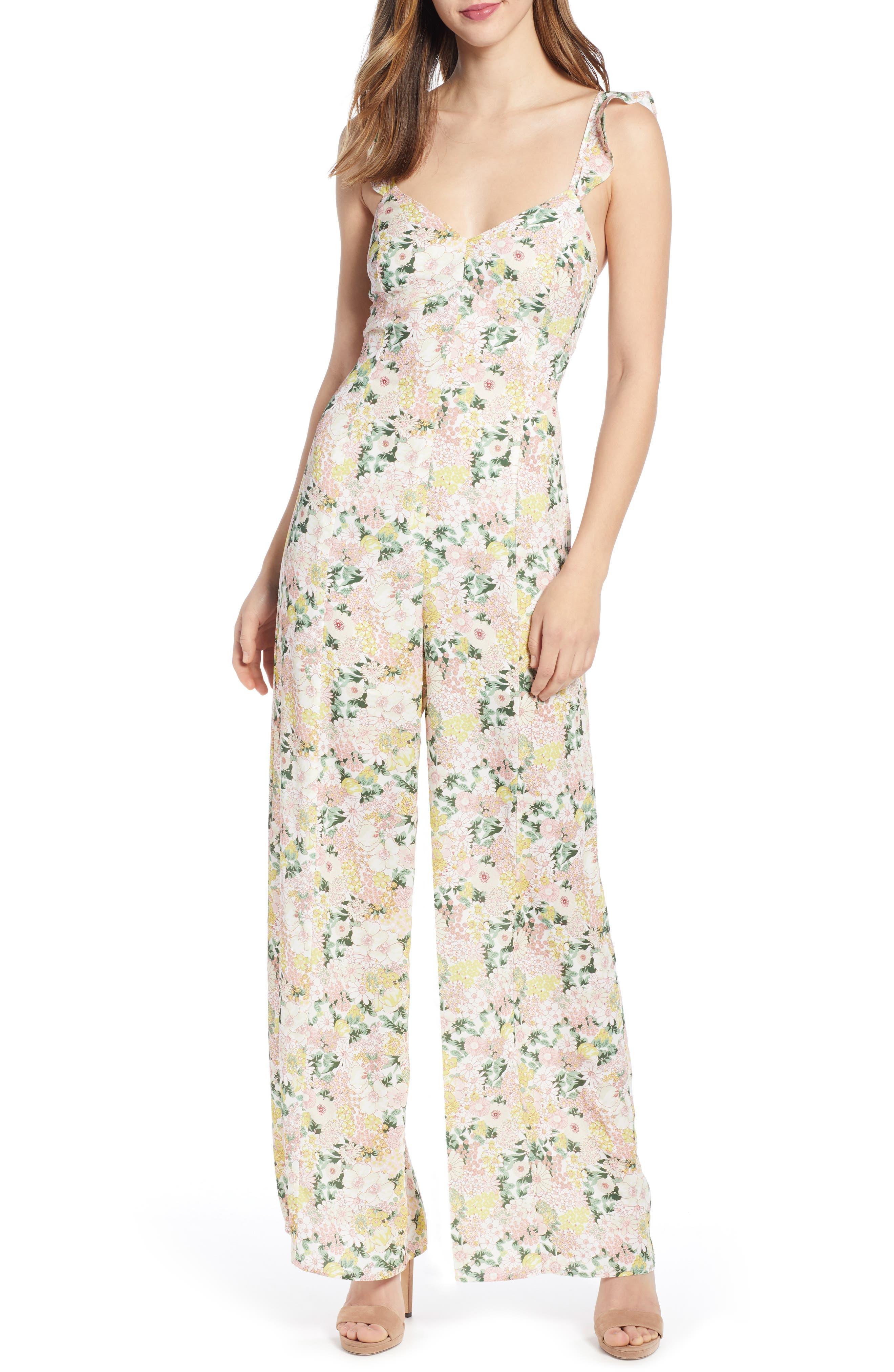 Leith Ruffle Strap Jumpsuit, Pink